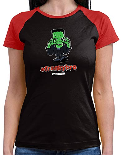 HARIZ  Damen Baseball Shirt Pixbros Frankybro Halloween Kostüm Horror Umhang Plus Geschenkkarte Black/Red S -