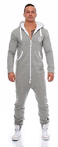Gennadi Hoppe Herren Jumpsuit Onesie Jogger Einteiler Overall Jogging Anzug Trainingsanzug Slim Fit,hell grau,XX-Large