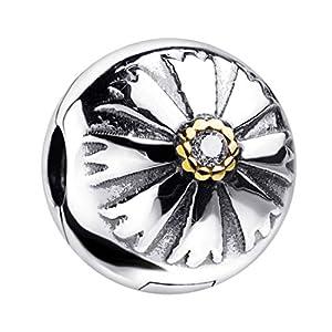 MATERIA Charms Clip Sonne 925 Silber – Beads Stopper Zirkonia vergoldet für Armbänder Ketten/mit Etui 1555