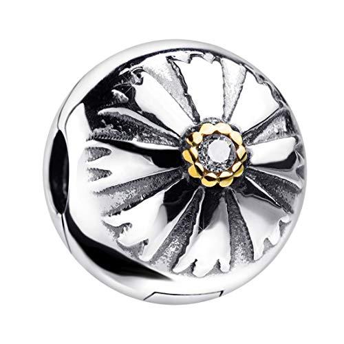 MATERIA Charms Clip Sonne 925 Silber - Beads Stopper Zirkonia vergoldet für Armbänder Ketten/mit Etui 1555