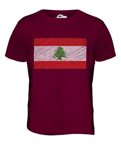 CandyMix Libanon Kritzelte Flagge Herren T Shirt Burgunderrot