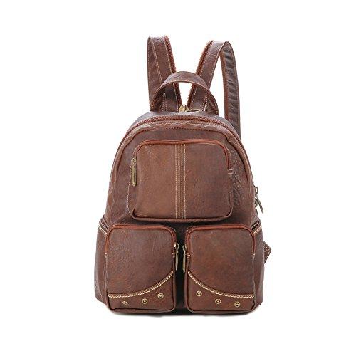 Lycailcy  LYC-Lycailcy-80292-5, Sac à main porté au dos pour femme Marron Light Brown(10.2 x 5.5 x 12.2 inches) taille unique Light Brown(10.2 x 5.5 x 12.2 inches)