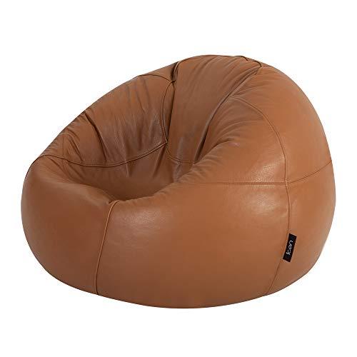 Luxus Echt Leder Sitzsack–ICON Designer Sitzsäcke–Getäfelten XL Sitzsack in Tan Leder