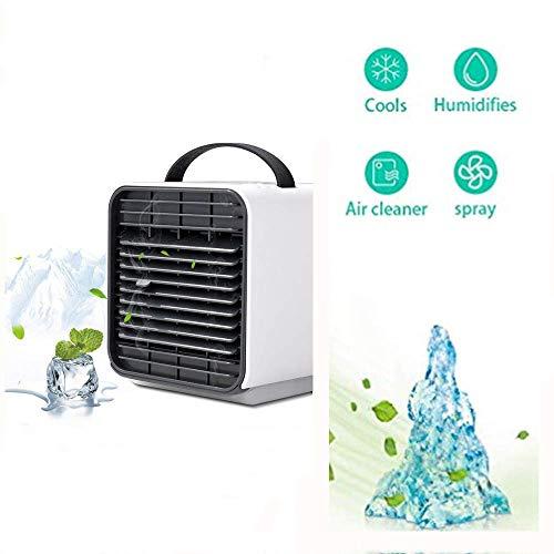 Mini Air Cooler, Mobile Klimaanlage/Tischventilator/Luftkühler   Klimagerät Klima tragbar   Luftbefeuchter   Luftreiniger /150 ml Wasser Panzer Kapazität/USB-Ladung (Weiß) -