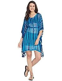 ab6e97ab7c SOURBH Women's Kaftan Top Beach Wear Shibori Printed Tassel Bikini Boho  Body Cover Up Dress Girls