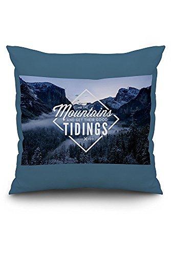 John Muir - Climb the Mountains Good Tidings (18x18 Spun Polyester Pillow Case, Custom Border)