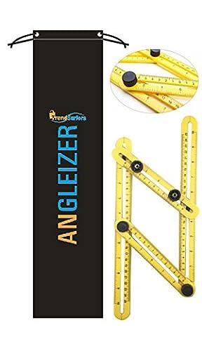 Angle Règle | 180° de mesure Modèle Outil | multi-angle Angle-izer pour Établis, Constructeurs, Artisans, charpentier | gain de temps, aide à éliminer les erreur | pour suspendre la pose de carrelage, sols, coupe pierres et bien plus encore