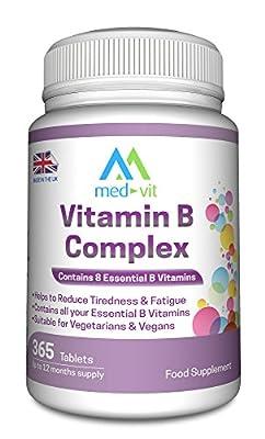 Med-Vit Vitamin B Complex 365 tablets (12 months supply) - Contains all Eight B Vitamins in 1 Tablet, Vitamins B1, B2, B3, B5, B6, B12, D-Biotin & Folic Acid