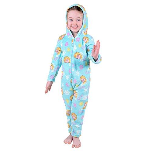 Childrens-Girls-Ice-Blue-Disney-Frozen-Elsa-Fleece-All-In-One-Pyjama-PJs-Onesie