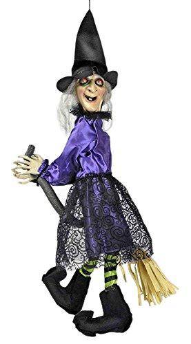Hexe Violetta mit Zappelbeinen animiert 70x25 cm - Lustige Halloween Party Dekoration