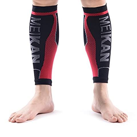 Manchons de compression, MEIKAN - Calf compression sleeves (1 paire) / Calf Guards pour Shin Splint, varice et soulagement de douleur Mollet, Circulation & jambes crampon en charge de la Compression Manchon - en marche, jogging, cyclisme, Fitness & Exercise Performance améliorée - Hommes & Femmes (Noir, Medium(1 paire))