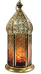 Guru-Shop Orientalische Messing/Glas Laterne in Marrokanischem Design, Windlicht, Orange, Farbe: Orange, 21x9,5x9,5 cm, Orientalische Laternen