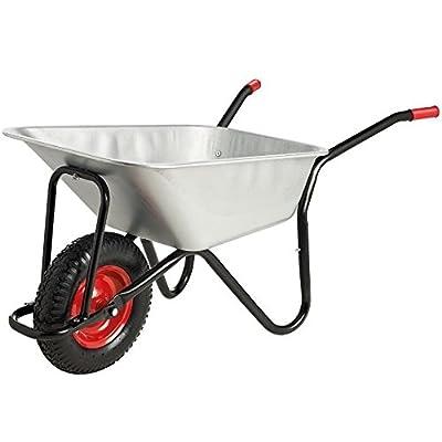 CrazyGadget® Wheelbarrow Garden Wheel Barrow Galvanised Heavy Duty Pneumatic Tyre Professional DIY 100 Litre Black Metal Handle