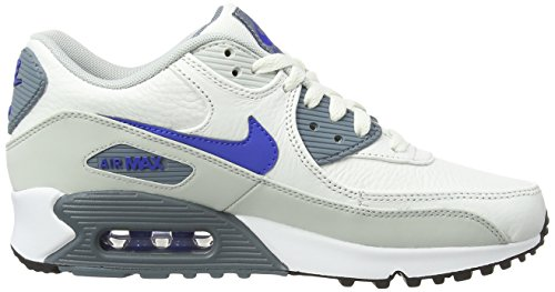 Nike Air Max 90 Leather, Running Entrainement Homme - Multicolore (Granite/White/Black/Emrld Grn), 41 EU Weiß