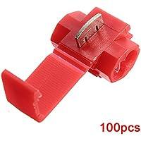 Sonline Terminales de cable 100pcs rapida Splice Conectores Lock Crimp Electrica Electrica - Rojo