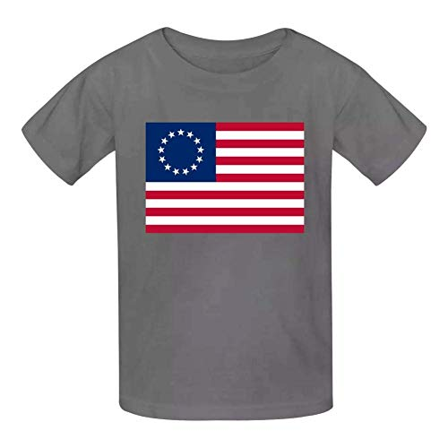 Kinder Jugendliche Kurzarm T-Shirt, Betsy Ross America Flag KidsCotton T-Shirts Short Sleeve Tees for Youth/Boys/Girls -