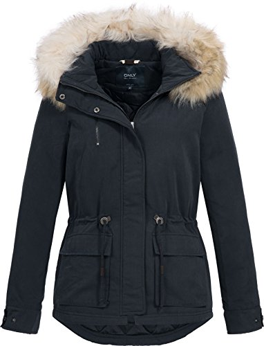 Only Damen Jacken / Winterjacke onlStarlight Fur Parka blau S