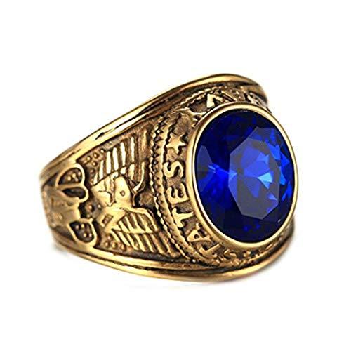 Wibbosad Herren Retro Edelstein Rubin Amerikanisch Soldaten Gold Überzogen Rostfreier Stahl Ringe,Blau,Größe 65 (20.7)