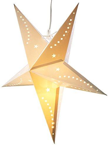 Lunartec Weihnachtssterne: 3D-Weihnachtsstern-Lampe, Stern aus Papier, 60 cm, weiß (Weihnachtsstern Leuchten) (Weihnachtsstern Pearl)