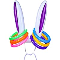 LOKIPA Inflatable Bunny Rabbit Ears Hat with 6 Rings Party holiday Toss Game