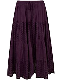 2d7fc663b0 Yours Clothing Women's Plus Size Tiered Broderie Maxi Skirt