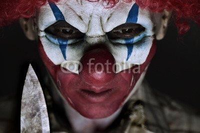 otiv: scary evil clown with a knife #123213235 - Bild auf Leinwand - 3:2-60 x 40 cm/40 x 60 cm (Scary Clown Bild)
