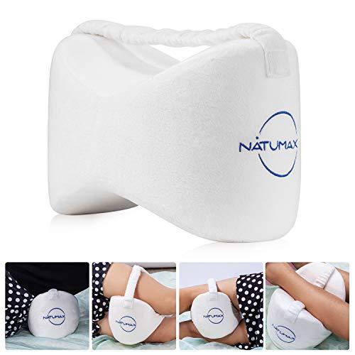 NATUMAX Orthopädisches Kniekissen für Seitenschläfer, Sorgt für Druckentlastung - Hüfte, Bein, Knie, Rücken und Schwangerschaft (Marineblau) (Weiß)