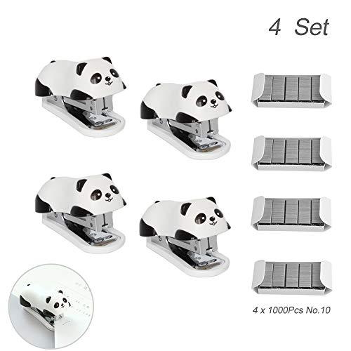 4 Dessin animé Panda Mignon Mini main Agrafeuse de bureau agrafe...