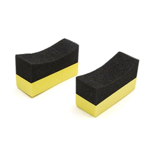 sourcingmap® 2 Stk U Form Reifen Wachsen Polieren Schwamm Pads Reifen Sauber Pinsel für Auto