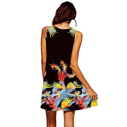 MRULIC Frauen Lose Sommer Weinlese Blumendruck Kurzschluss 3D Bild Minikleid Gerades Kleid mit Schmetterlinge Muster (EU-44/CN-XL, Y-Schwarz)