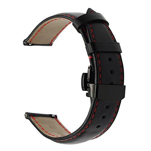 TRUMiRR Armband kompatibel Für Samsung Gear S3 Armband, 22mm Echtes Öl Leder Uhrenarmband Edelstahl Schmetterling Schnalle für Gear S3 Classic R770 & Frontier R760