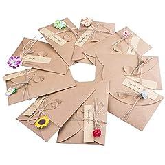 Idea Regalo - ZeWoo 9pcs Cartolina di Auguri, Fatti a Mano Retrò Carta Kraft, Buste Vuote, Fiori Secchi Decorato Cartolina per Persona Speciale e Importante Occasione
