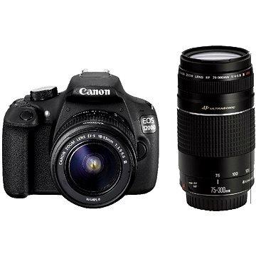 Canon EOS 1200d + EF-S 18–55mm + EF 75–300mm 18MP CMOS 5184x 3456pixel schwarz