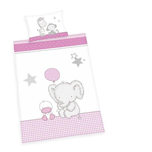 Herding Baby Best Kleinkinder-Bettwäsche-Set, Jana Elefant Wendemotiv, Bettbezug 100 x 135 cm, Kopfkissenbezug 40 x 60 cm, Baumwolle/Renforcé