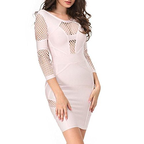 HLBandage Women's Sexy Long Sleeve Hollow Out Lattice Rayon Bandage Dress Beige