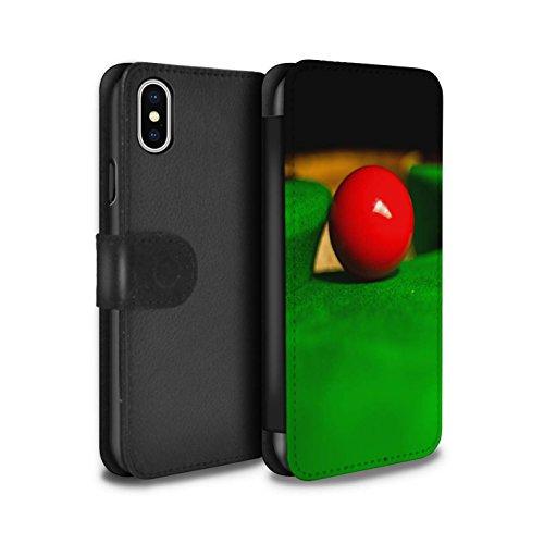 Stuff4 Coque/Etui/Housse Cuir PU Case/Cover pour Apple iPhone X/10 / Boul Rouge/Poche Design / Snooker Collection Boul Rouge/Poche