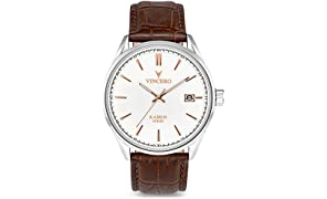 Vincero Luxury Men's Kairos Wrist Watch - White dial with Brown Leather Watch Band - 42mm Analog Watch - Japanese Quartz Movement