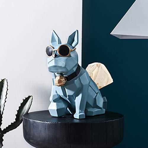 JHart Taschentücherbox, geometrische Tierfigur, abstrakte Figur, Harzhandwerk, dekorative Wohnzimmer-Schlafzimmer-Veranda usw,Blue (Blues Brothers Figuren)