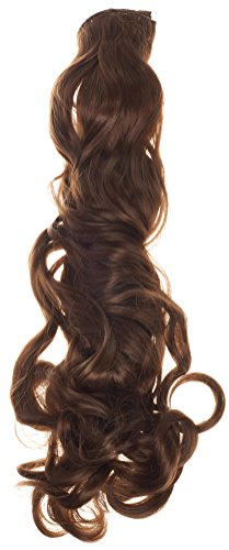 BiYa Hair Elements Thermatt Extensions cheveux bouclés à clip, marron moyen numéro 6/50,8 cm 140 g