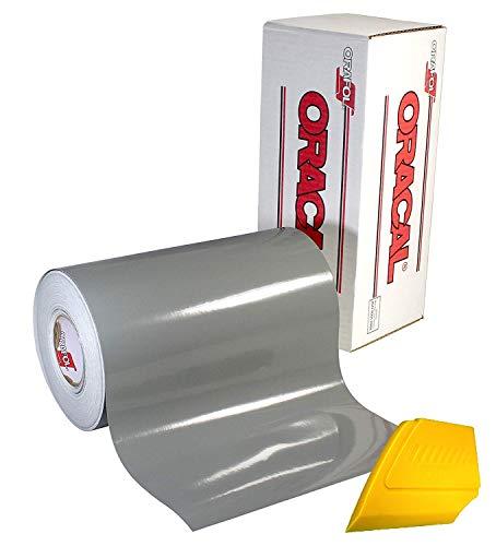 Oracal 651 Vinyl-Aufkleber, 30,5 x 150 m, glänzend, lösemittelbasiert, selbstklebende Rückseite, kalibriert grau