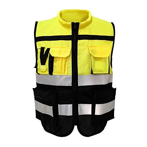RZH Indumenti di Sicurezza in Cotone Spesso, Abbigliamento da Ciclismo, Giubbotto Riflettente, Tasche Multiple e Giacca Multifunzionale (1 Pezzo / 10 Pezzi),Yellowpiece10piece,XXXL