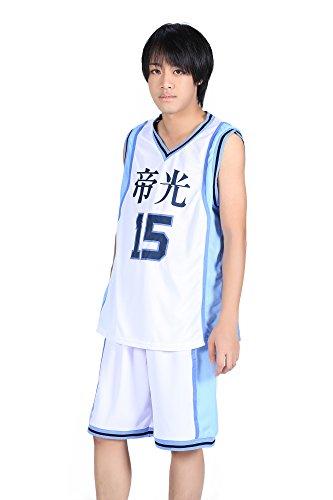De-Cos Cosplay Costume Teikou Middle School No. 15 Kuroko Tetsuya Jersey Set V3