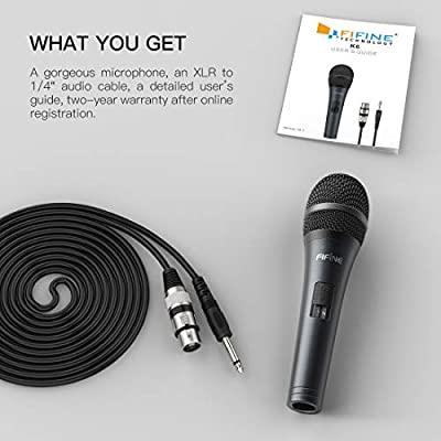 FIFINE Wired Microphone with Cord 14.8ft,Handheld Dynamic Mic Karaoke Microphone for Singing Vocal with On/Off Switch(K6)