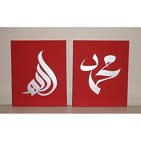 Calligrafia Araba islamica Wall Art 2pezzi dipinti ad olio su tela a mano per Home Decor Cornice pronta da appendere Red