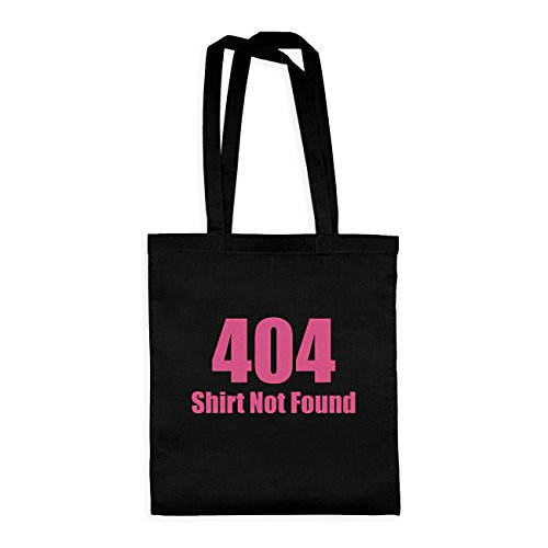 dress-puntos Baumwolltasche 404 Shirt Not Found 20drpt15-bwt00422-5 Textil black / Motiv fuchsia - 42 x 38 cm