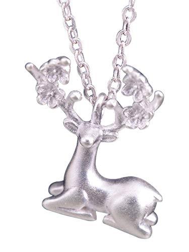 NicoWerk SKE318 - Cadena de plata con colgante de ciervo de plata de ley 925, diseño de ciervo