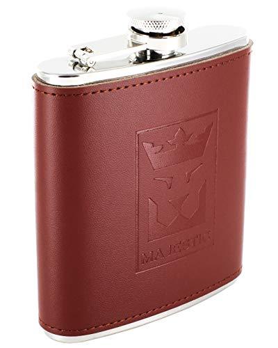 Majestic Edelstahl-Flachmann inklusive Geschenkbox, Praktischer Einfülltrichter, Braunes Leder, Auslaufsicher & Stabil, 200ml-Taschenflasche
