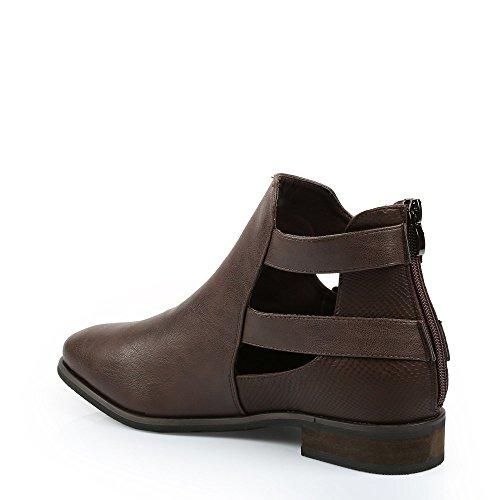 Réptil Jasmine Aberto Algum Boot Marrom Efeito Sapatos Ankle Com Ideais Cn8txqA0wp