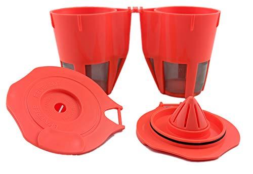 NRP Maximale nachfüllbar K Karaffe Kaffee Filter für Keurig 2.0Kaffeemaschine alle Series-2Pack lachs Pink - Filter Karaffe Keurig