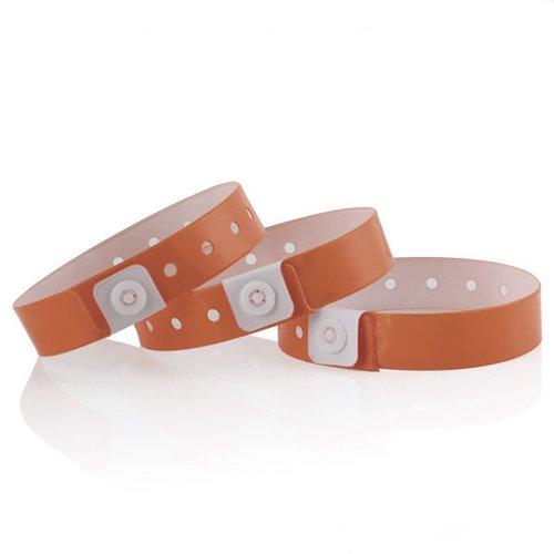 100 Stück Armbänder Kunststoff/Vinyl für Ereignisse - Wunschtext und wasserdicht Dunkel Orange (Ereignisse Armbänder Für)